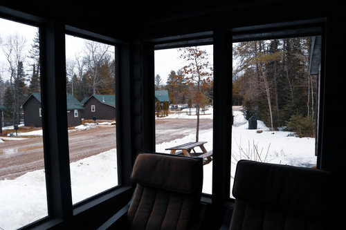 Au Sable Riverview Resort Log Vacation Cabin 6 porch view Grayling 12.jpg