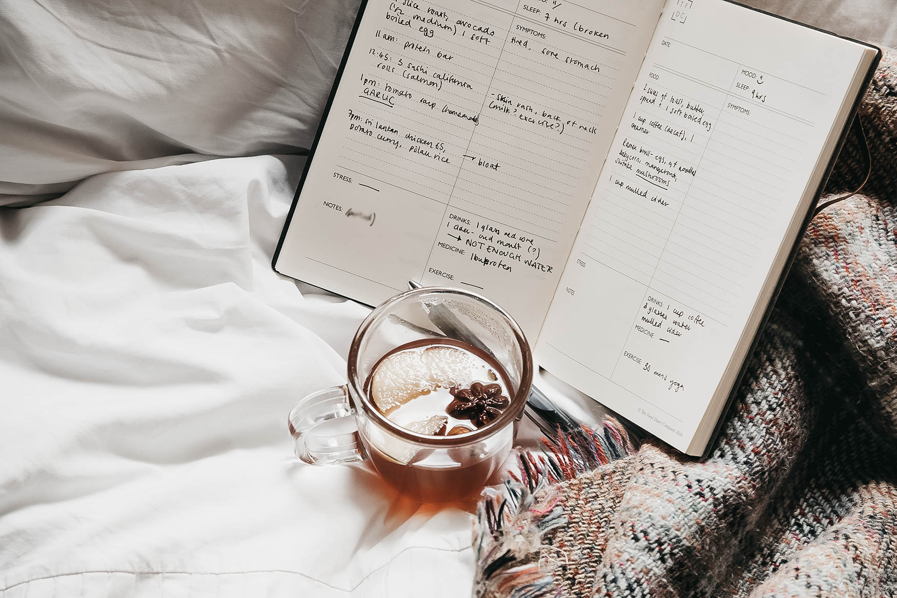 cosy blanket and food diary on bed.jpg