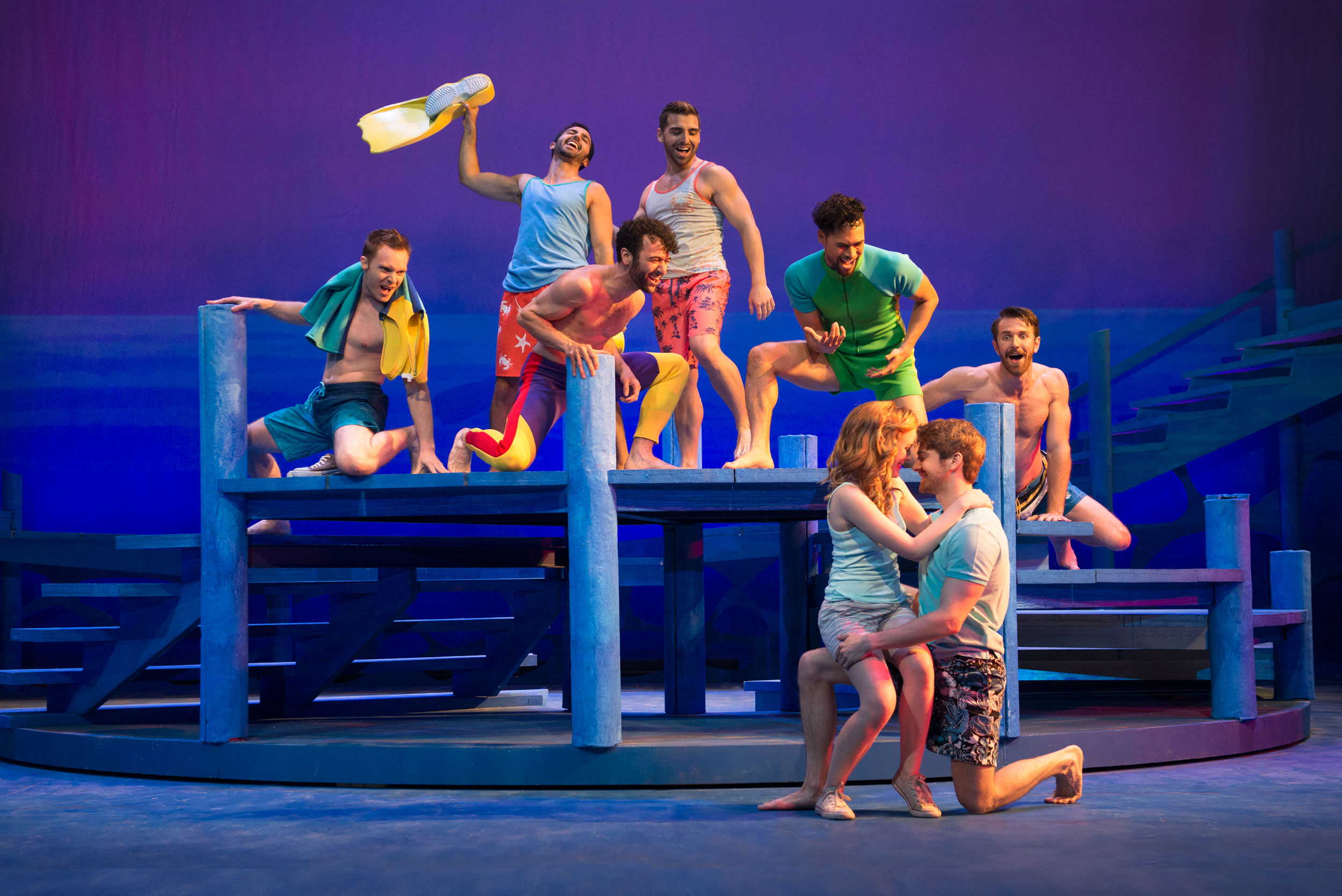 Briana Rapa, Mike Heslin, and cast of Mamma Mia! at the Ogunquit Playhouse - Photo by Gary Ng