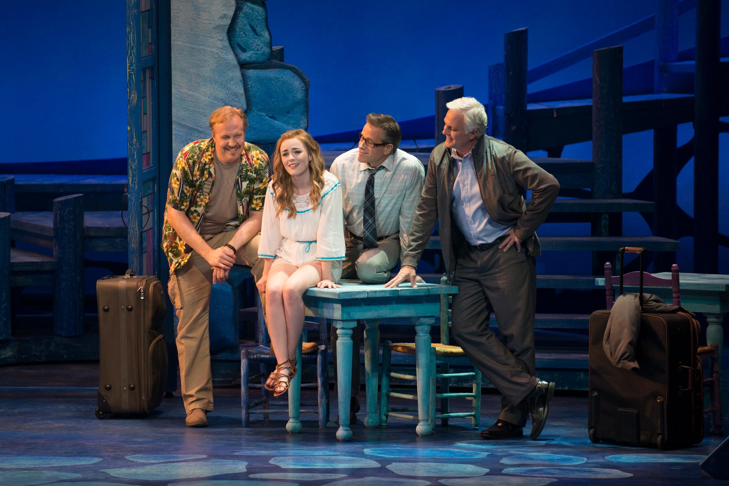 Fred Inkley, Briana Rapa, David Engel, Patrick Cassidy in Mamma Mia! at the Ogunquit Playhouse - Photo by Gary Ng