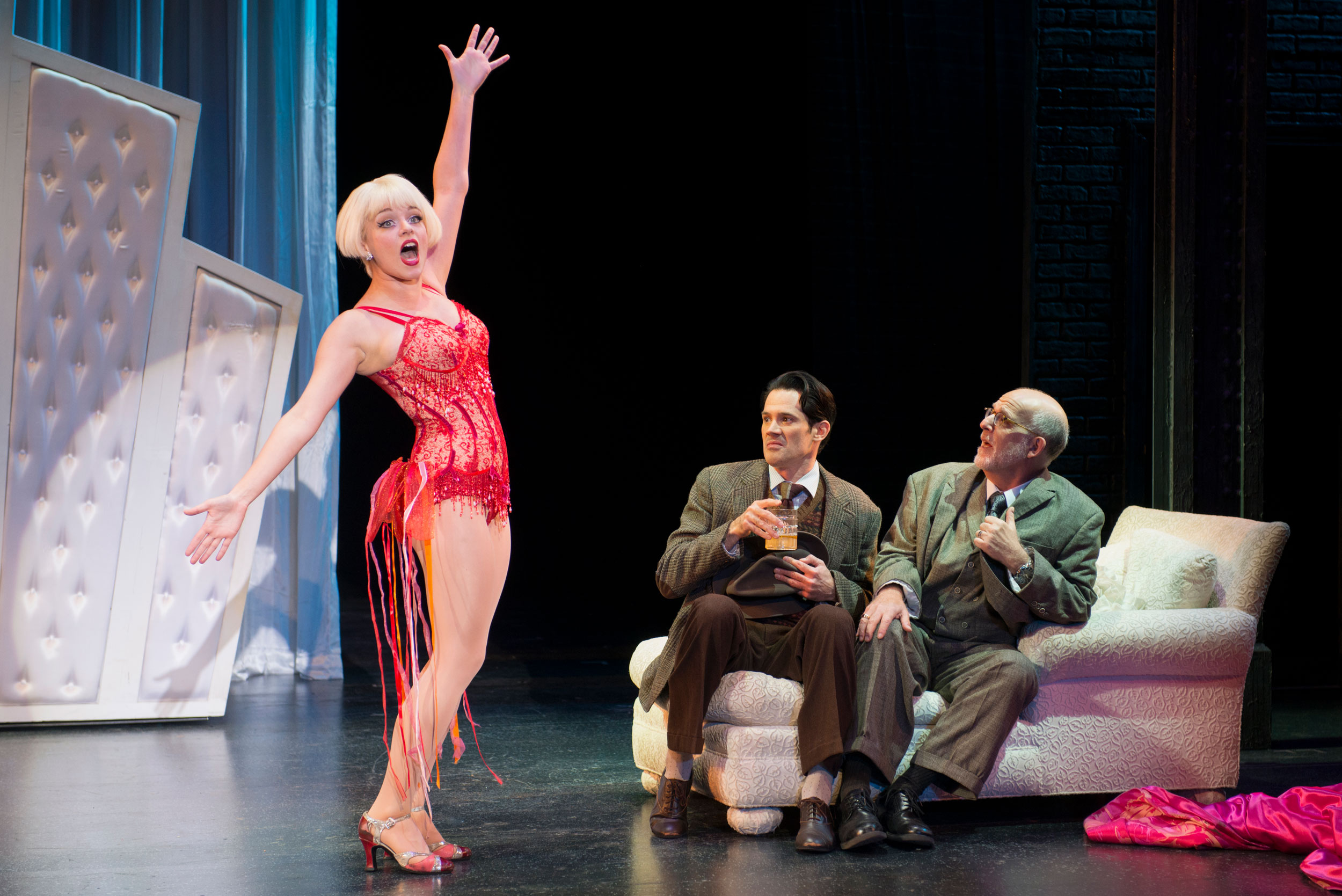 Jemma Jane, John Rochette, and Kenny Moris  in Bullets Over Broadway at the Ogunquit Playhouse, 2017 - Photo by Gary Ng