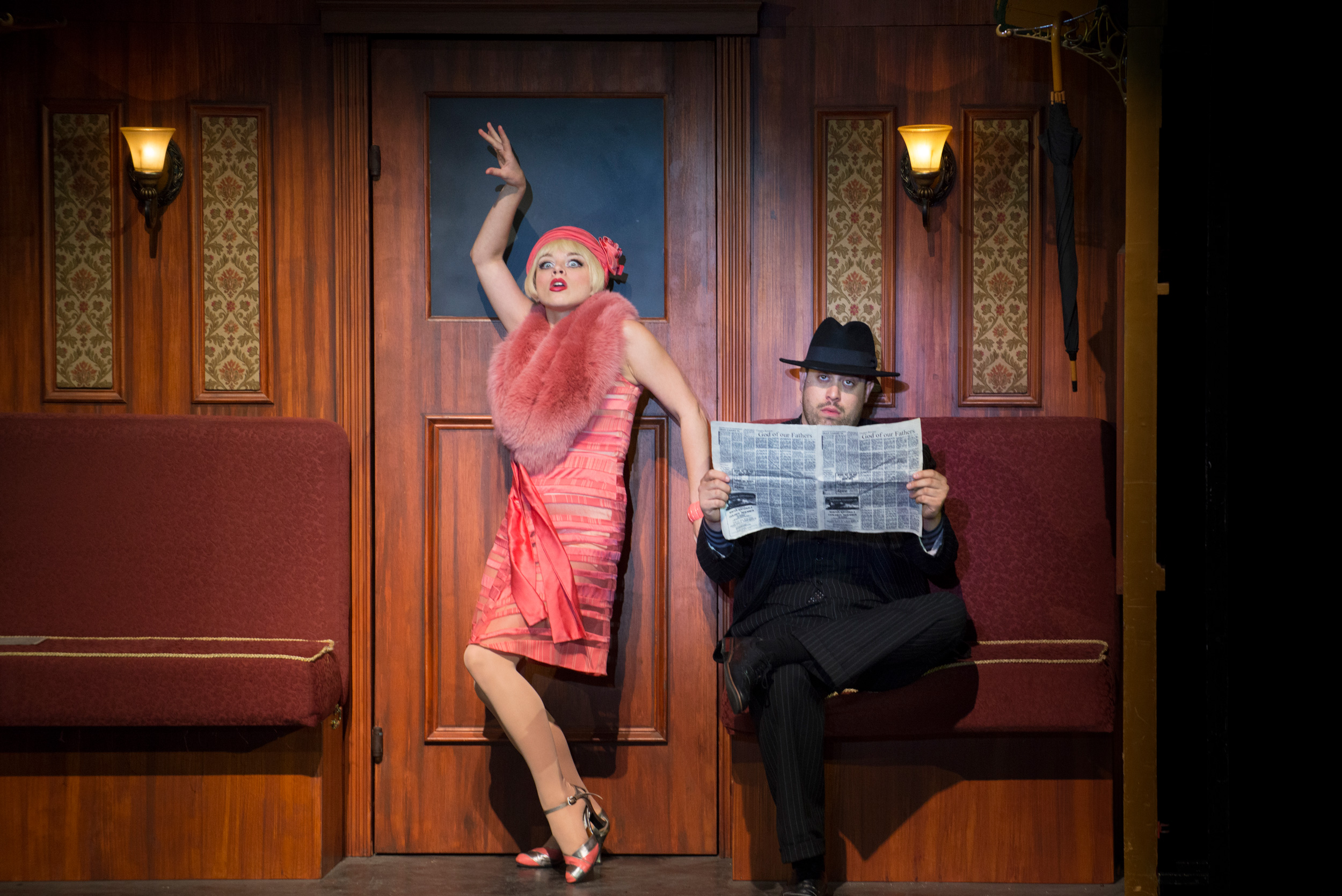 Jemma Jane and Reed Campbell in Bullets Over Broadway at the Ogunquit Playhouse, 2017 - Photo by Gary Ng