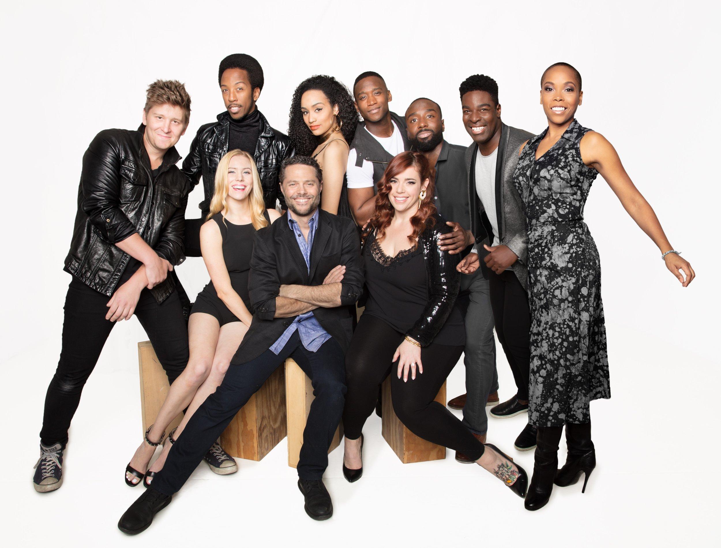 The cast of Smokey Joe's Cafe with Director/Choreographer Josh Bergasse (front center). Photo by Joseph Moran.