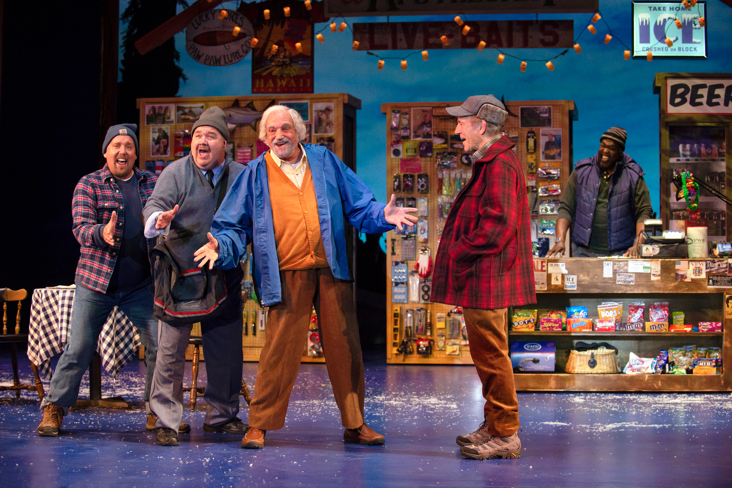 Eric Jon Mahlum, Blake Hammond, Tony and Emmy Winner Hal Linden, Mark Jacoby, and Doug Eskew in Grumpy Old Men, The Musical at the Ogunquit Playhouse, 2018. Photo by Gary Ng.