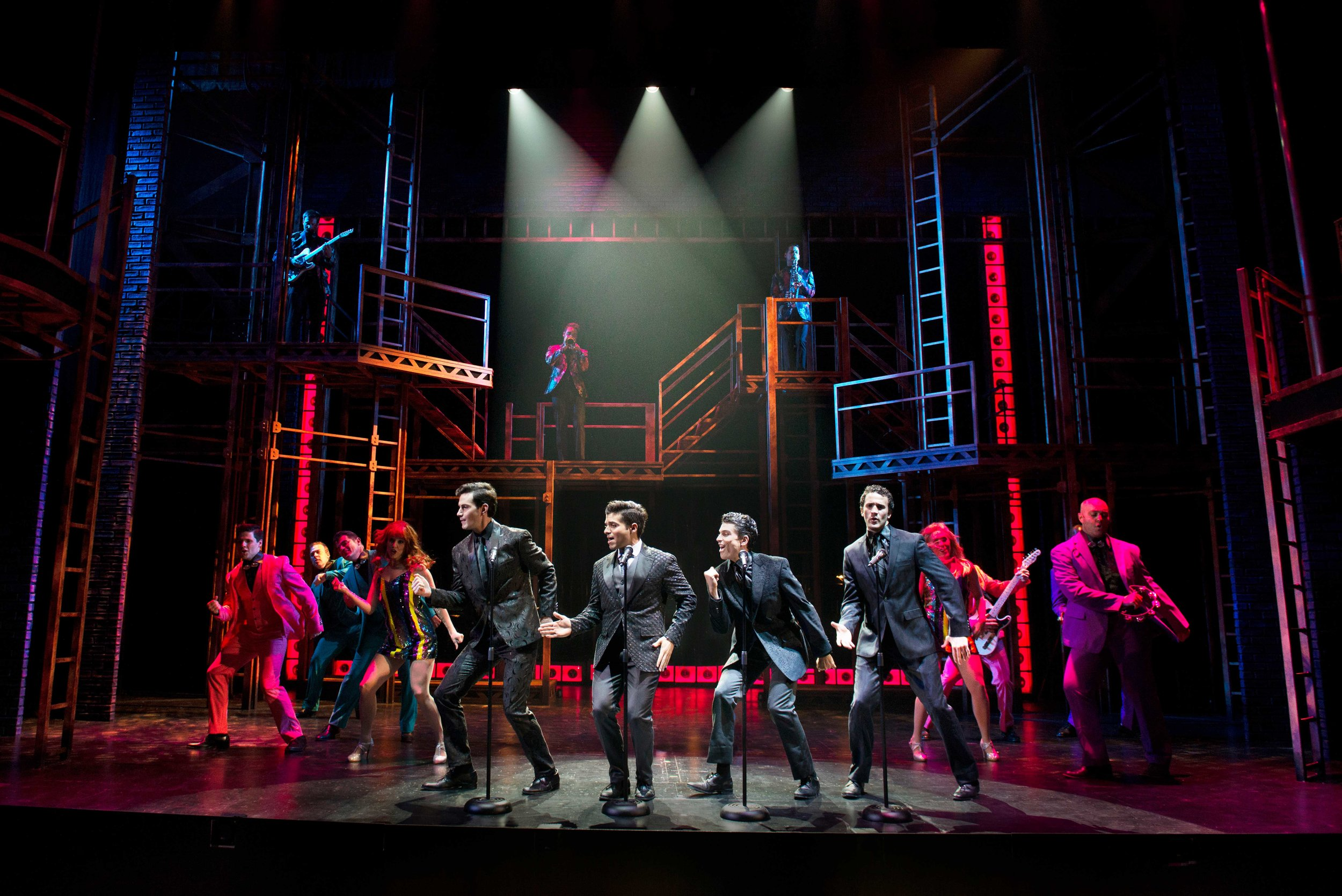 Andy Christopher, Jonathan Mousset, Matt Magnusson, and Matthew Amira in Jersey Boys at the Ogunquit Playhouse, 2018. Photo by Gary Ng.
