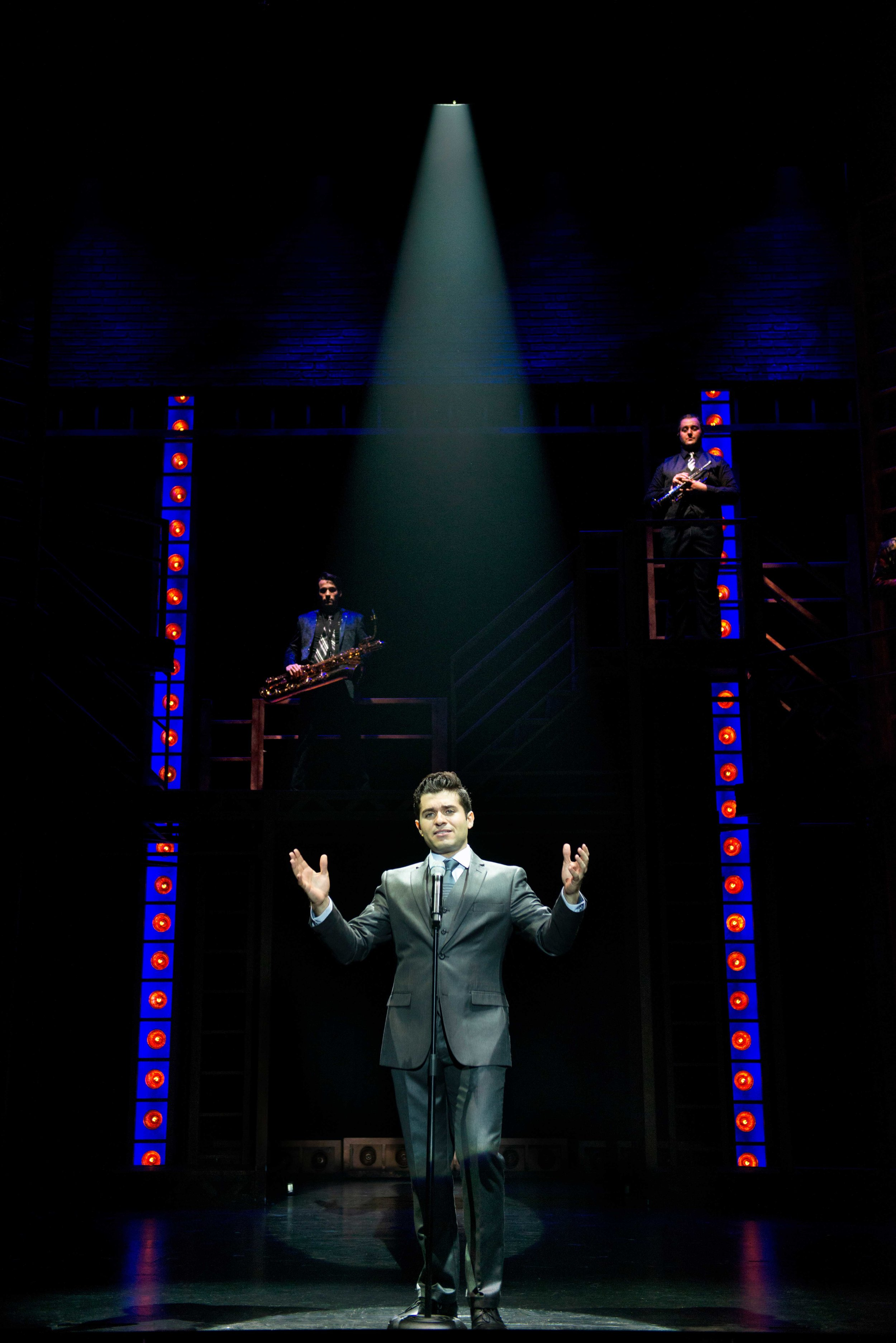 Conor Schulz, Jonathan Mousset, and Andrew Aaron Berlin in Jersey Boys at the Ogunquit Playhouse, 2018. Photo by Gary Ng.