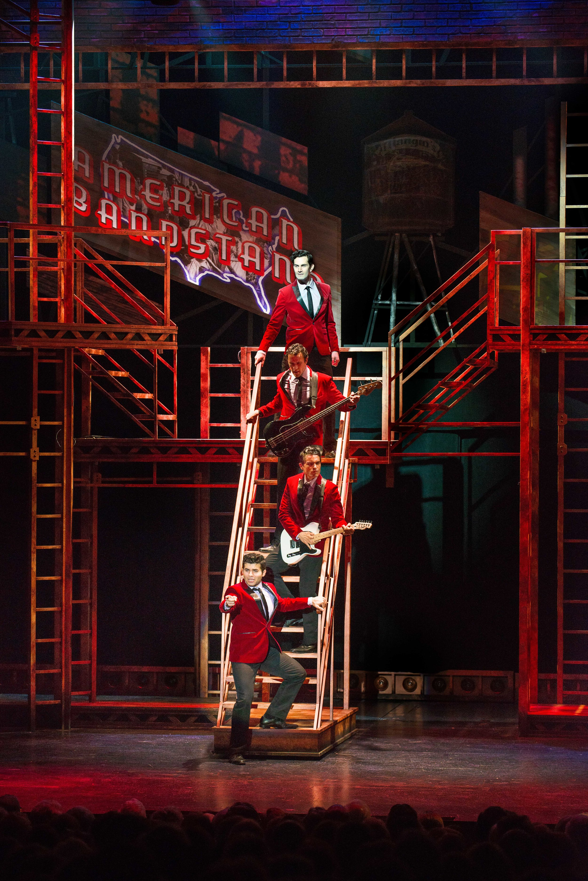 Andy Christopher, Matthew Amira, Matt Magnusson, and Jonathan Mousset in Jersey Boys at the Ogunquit Playhouse, 2018. Photo by Gary Ng.