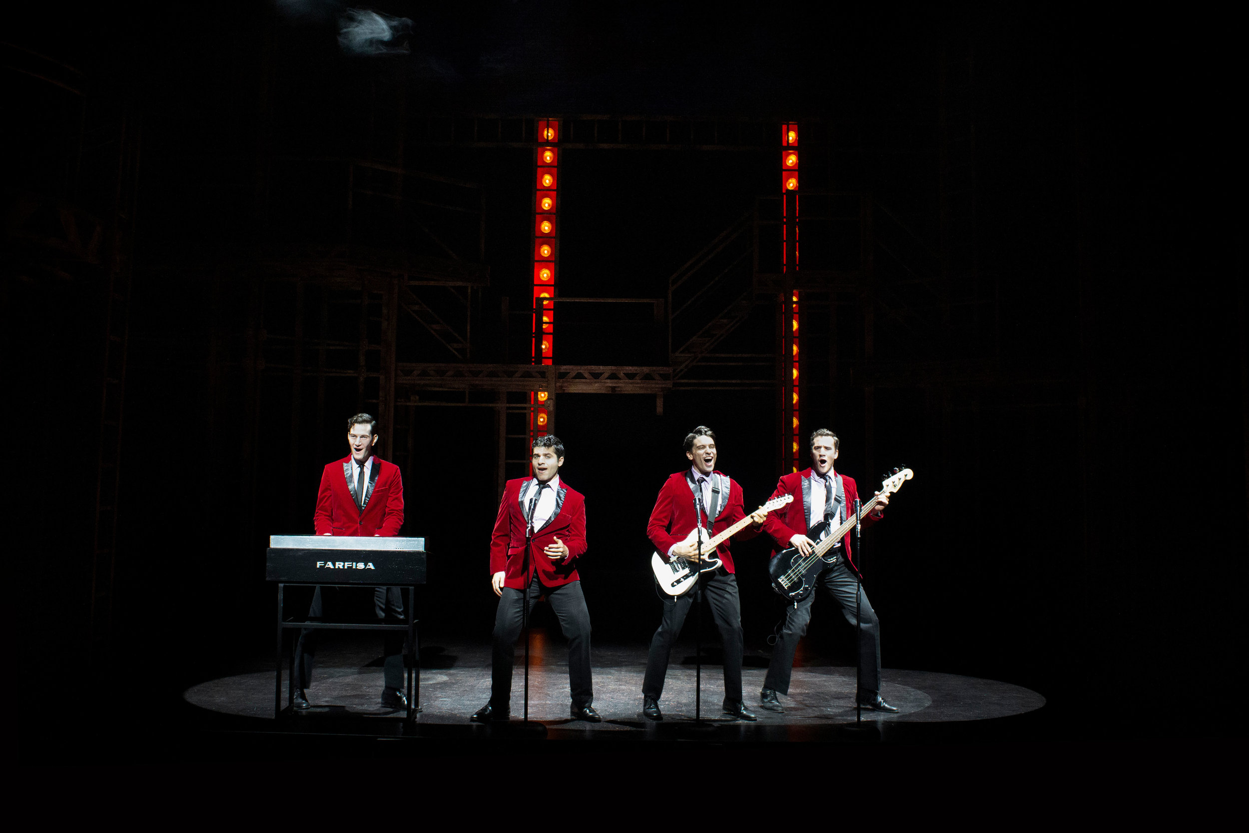 Andy Christopher, Jonathan Mousset, Matt Magnusson, and Matthew Amira in Jersey Boys at the Ogunquit Playhouse. Photo by Morgan Gavaletz LaMontagne