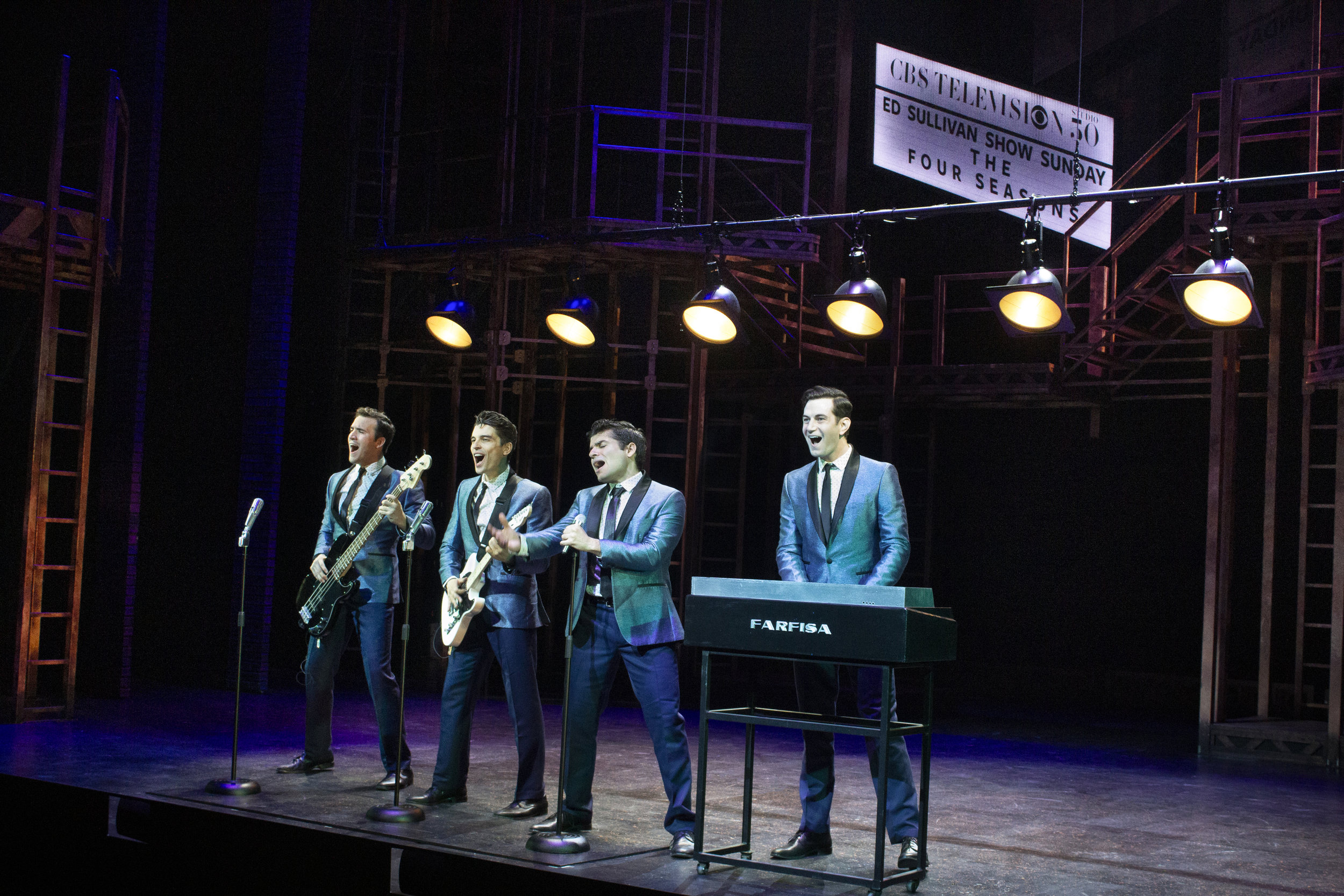 Matthew Amira, Matt Magnusson, Jonathan Mousset, and Andy Christopher in Jersey Boys at the Ogunquit Playhouse. Photo by Morgan Gavaletz LaMontagne.