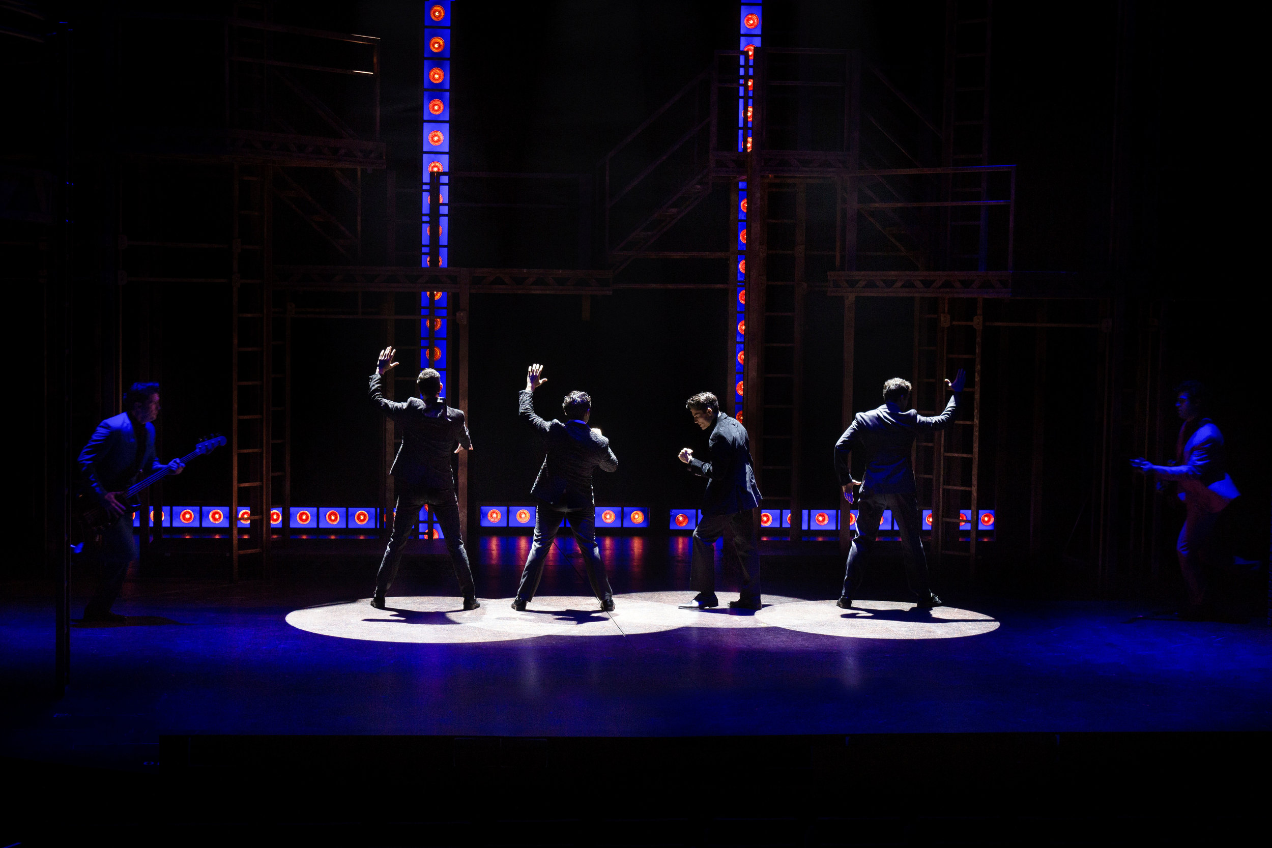 Colin Campbell McAdoo, Andy Christopher, Jonathan Mousset, Matt Magnusson, Matthew Amira, and Will Boyajian in Jersey Boys at the Ogunquit Playhouse. Photo by Paul Charest.