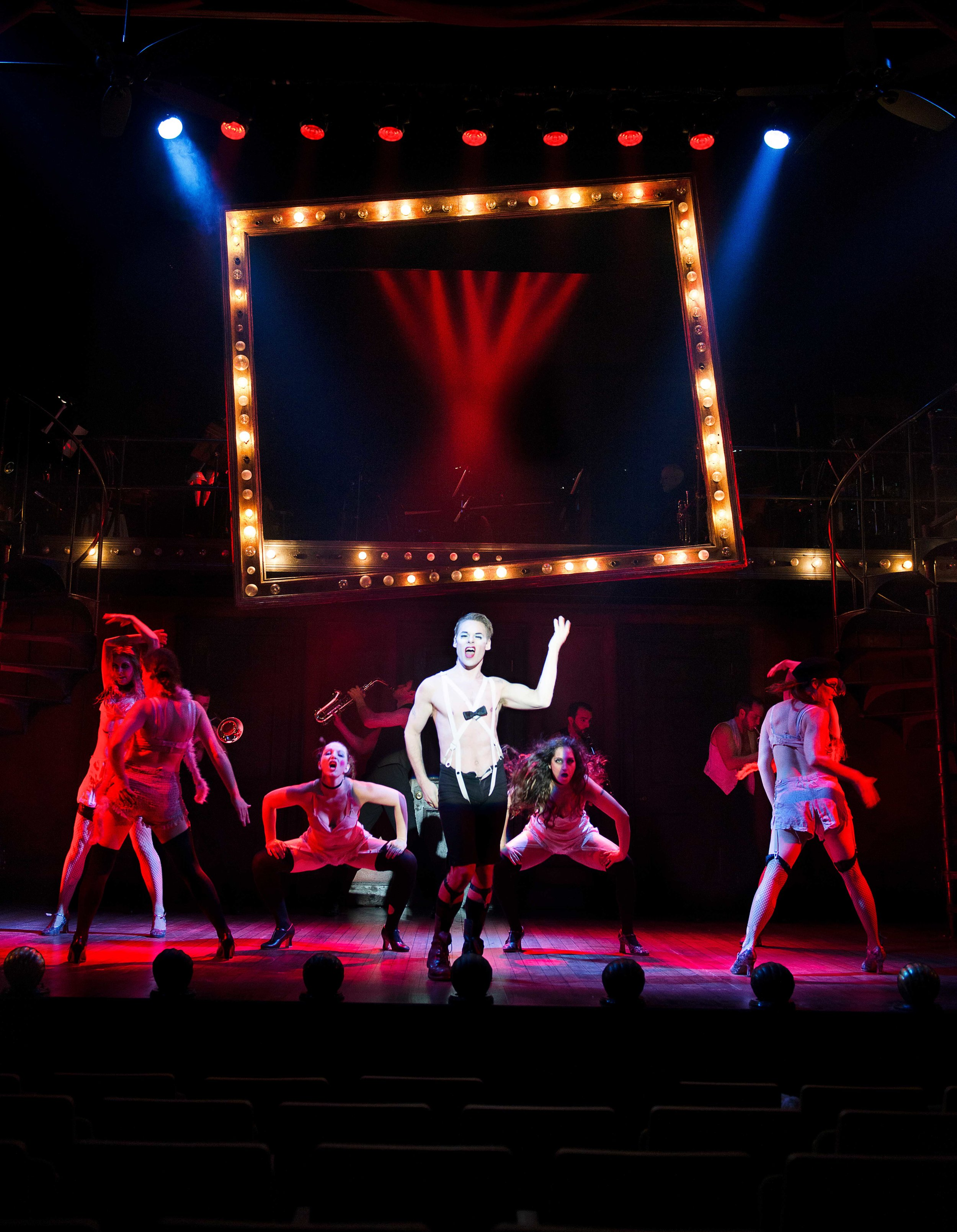 Randy Harrison and the cast of  Cabaret  at the Ogunquit Playhouse (2019) Photo by Gary Ng.