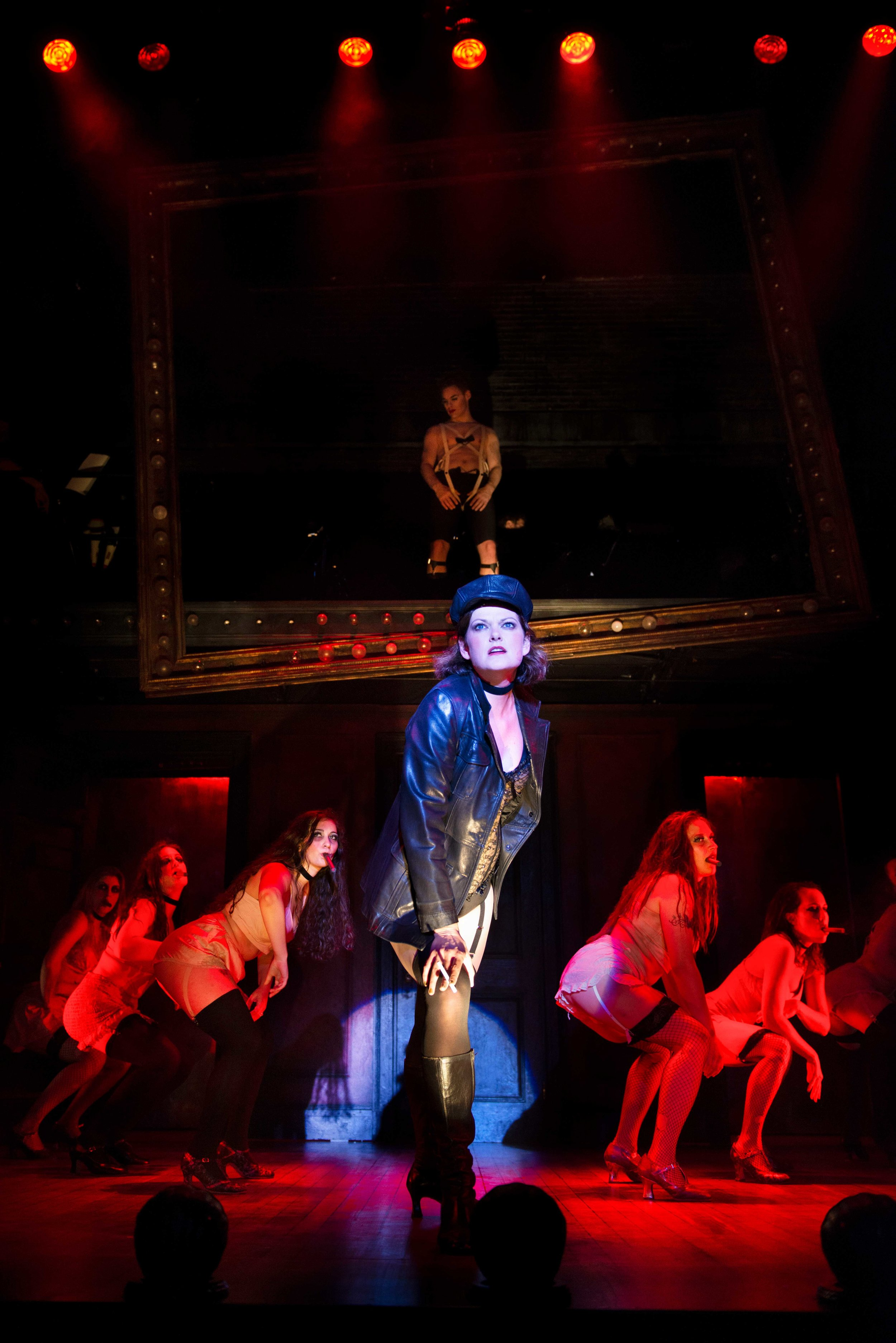 Kate Shindle and the cast of  Cabaret  at the Ogunquit Playhouse (2019) Photo by Gary Ng