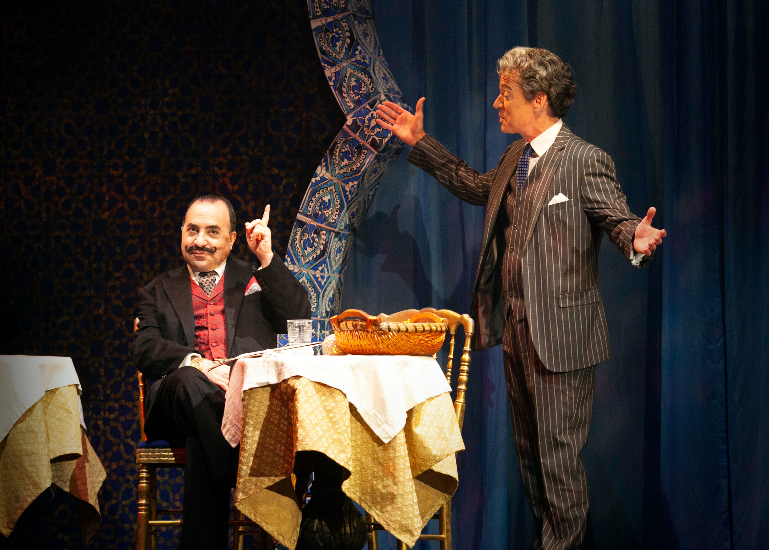 Steven Rattazzi and Christopher Gurr in Agatha Christie's Murder on the Orient Express at the Ogunquit Playhouse. Photo by Jay Goldsmith