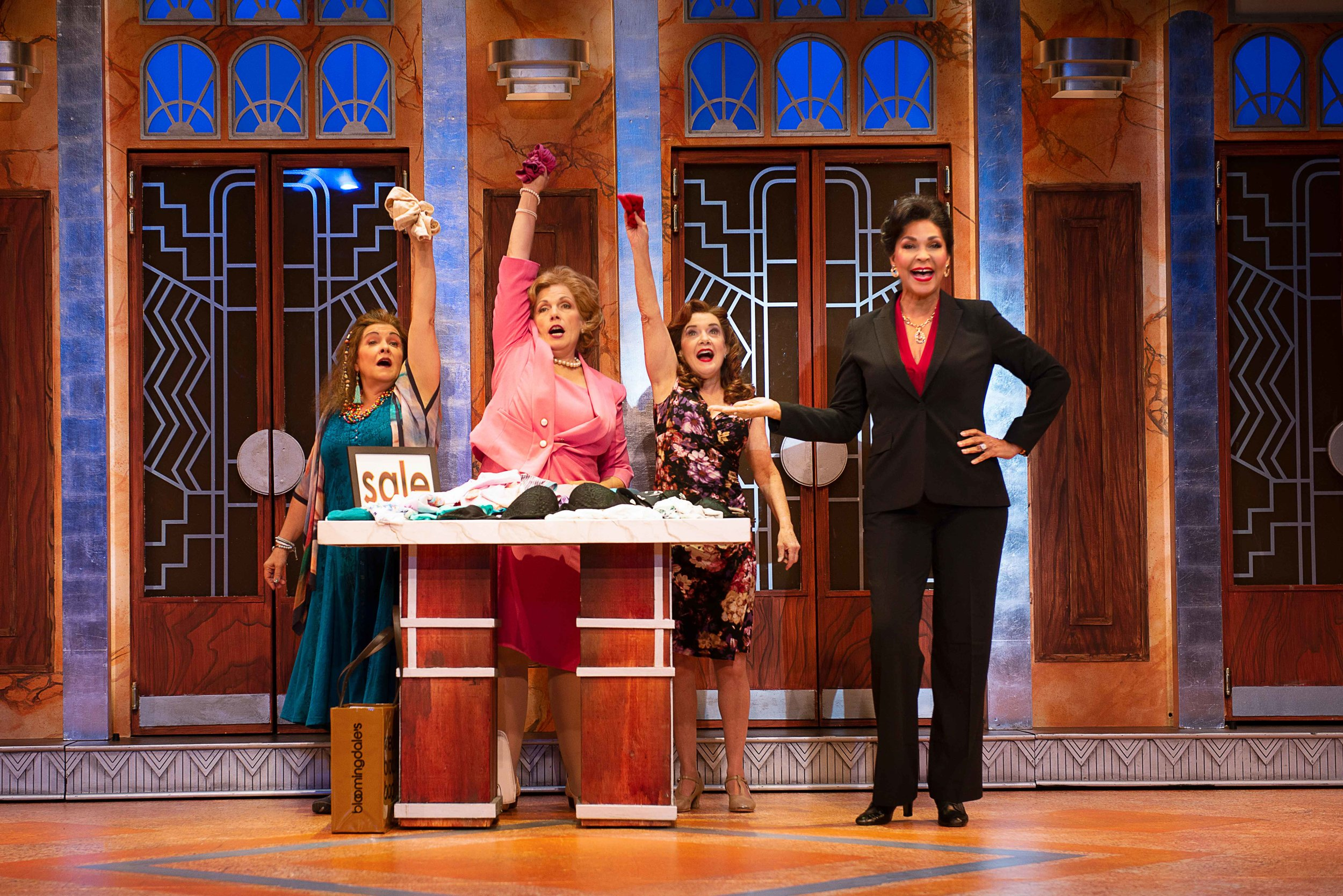 Melanie Souza, Roberta B. Wall, Kathy St. George, and Anise Ritchie in Menopause The Musical® (2019) Photo by Gary Ng