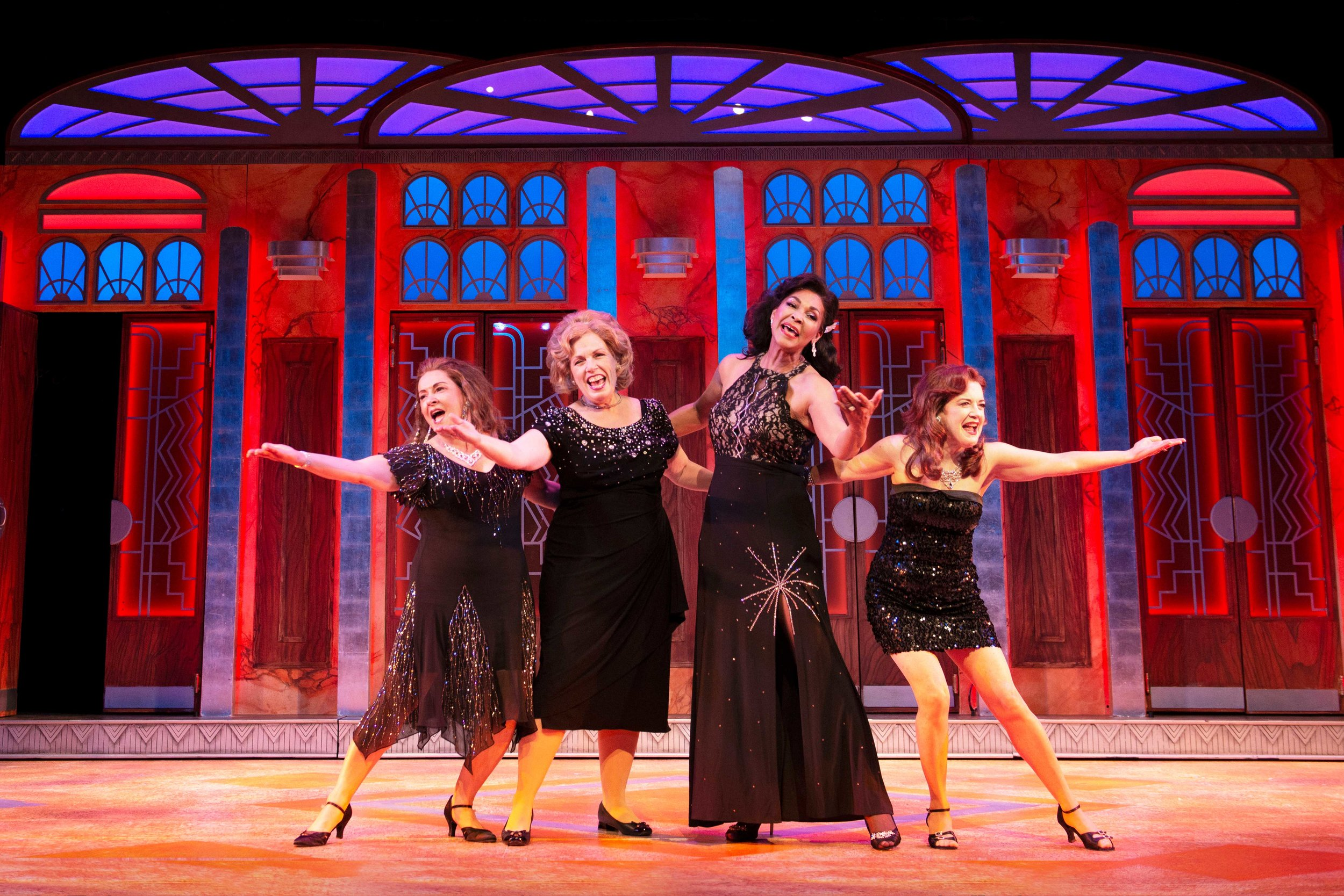 Melanie Souza, Roberta B. Wall, Anise Ritchie, and Kathy St. George in Menopause The Musical® (2019) Photo by Gary Ng
