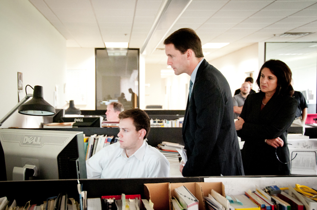 Congressman Himes and Bonnie Del Conte, President/CEO of CONNSTEP, look on as Engineer Ryan Knapp explains Macton's design process and engineering capabilities.