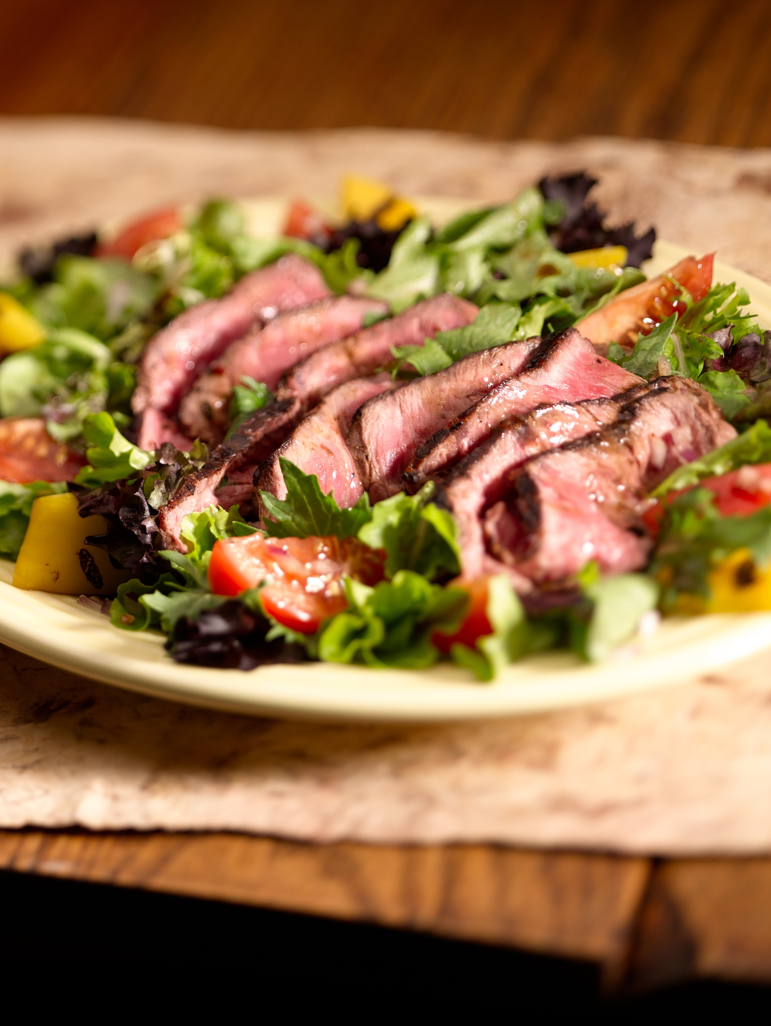 Nurture Ranch Steak Salad Recipe made with Nurture Ranch Grass Fed Tenderloin Filet.