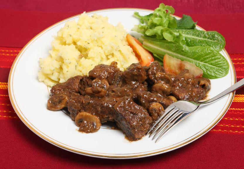 Nurture French Bourguinon made with Nurture Ranch Grass Fed Beef Tenderloin Filet.