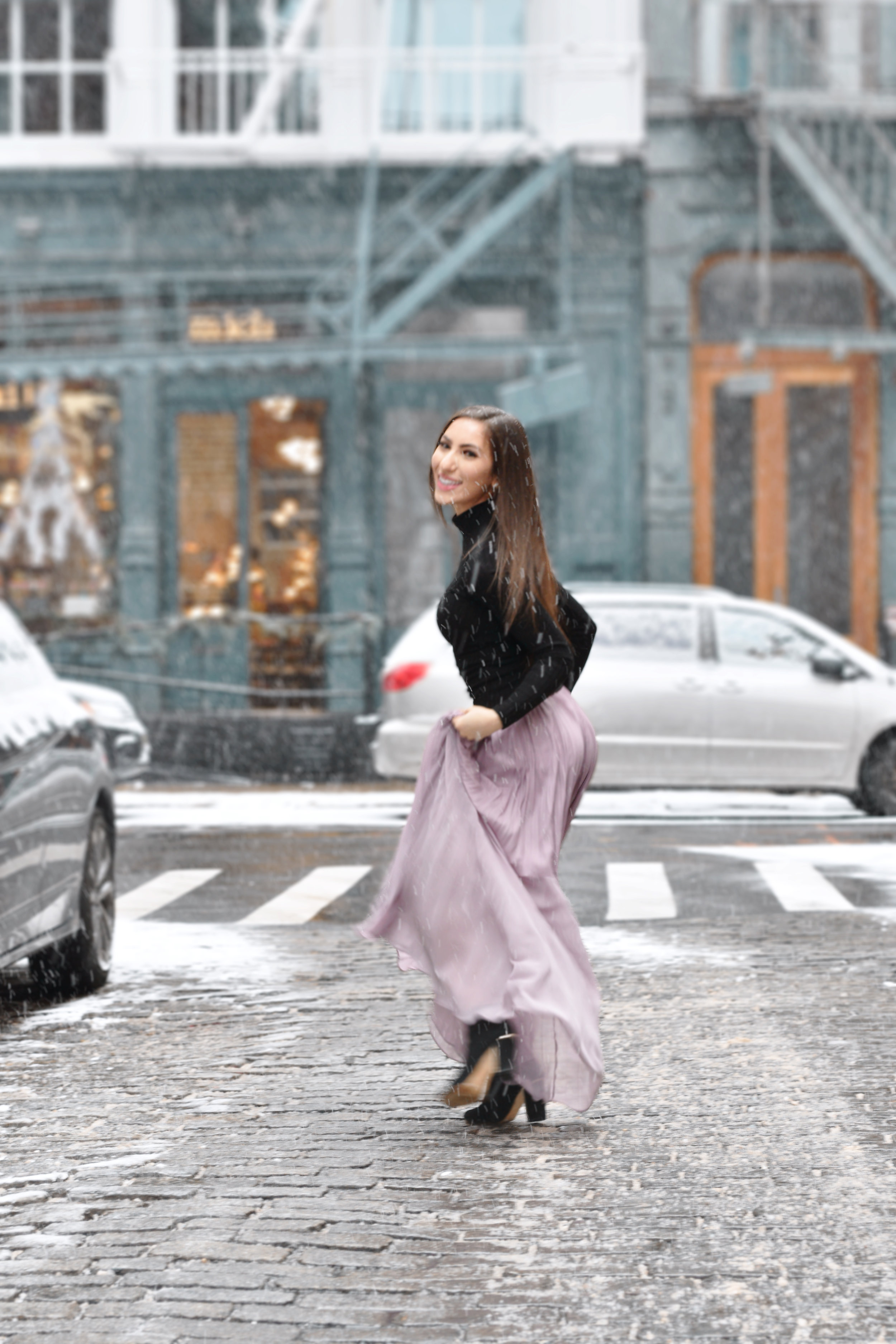 Actress and lifestyle blogger Jennifer Leigh Coren posing in New York City's Soho District. This shoot modeled  ASOS  clothing.