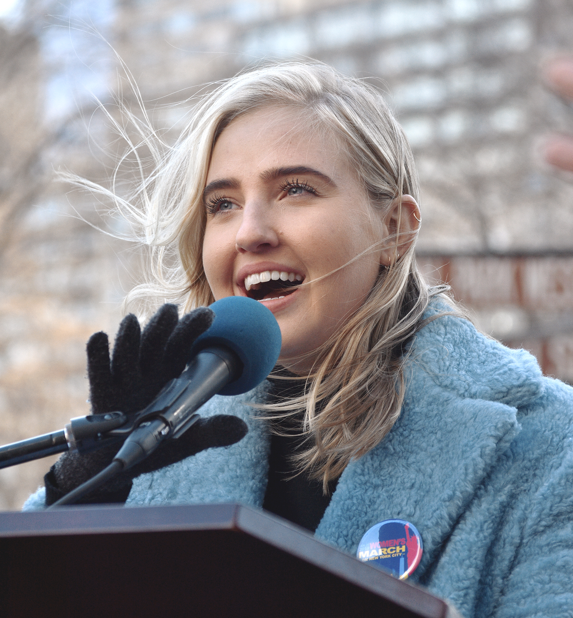 Actor and activist Veronica Dunne at the Women's March NYC, Jan 20th 2018. This picture was featured on  Veronica's instagram