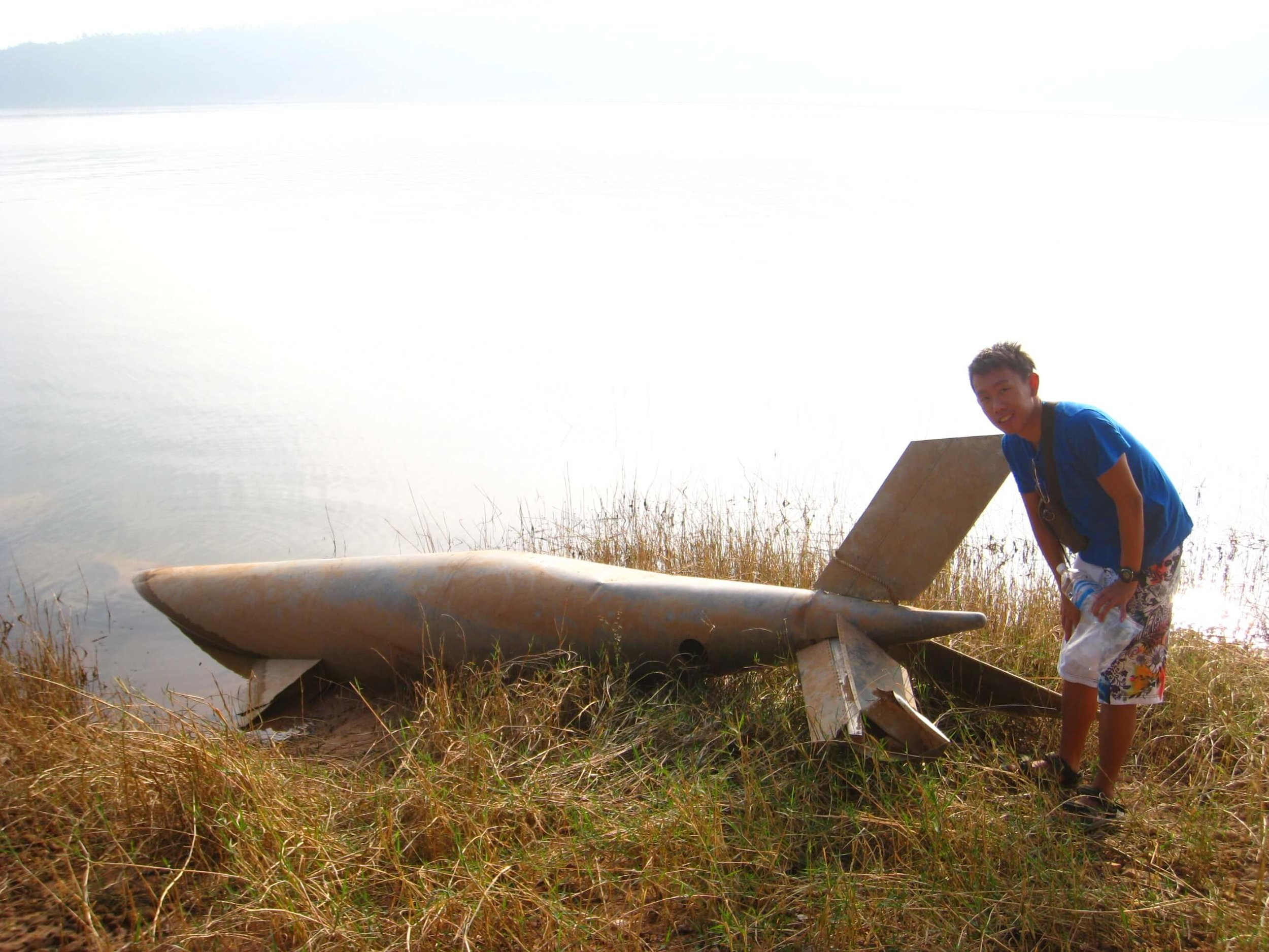 On afternoon, we chanced upon a bomb left behind during the Vietnam war, while circling the remote island.