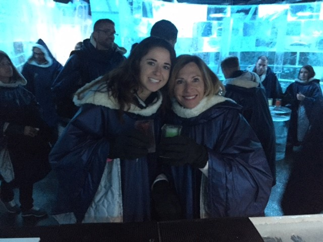 My mom and I at the Icebar Stockholm by IceHotel
