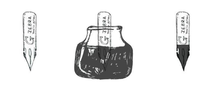 Ink should coat the grey areas (shown in diagram above) if the nib is prepped properly.