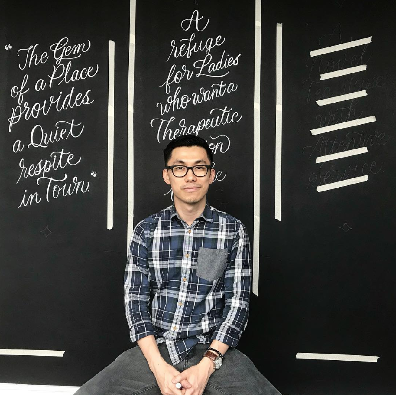 Nathaniel posing in front of his masterpiece now seen over at a boutique tea house, Arteastiq, located at both Plaza Singapura and Mandarin Gallery.