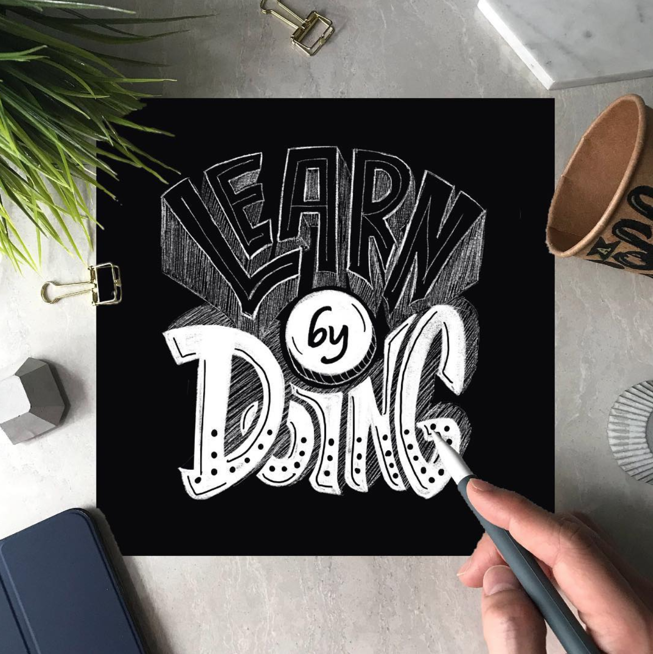 Nathaniel recent inclination to chalkboard lettering has caused his Instagram feed to be donned in white lettering on black surfaces. It's absolutely stunning to see!