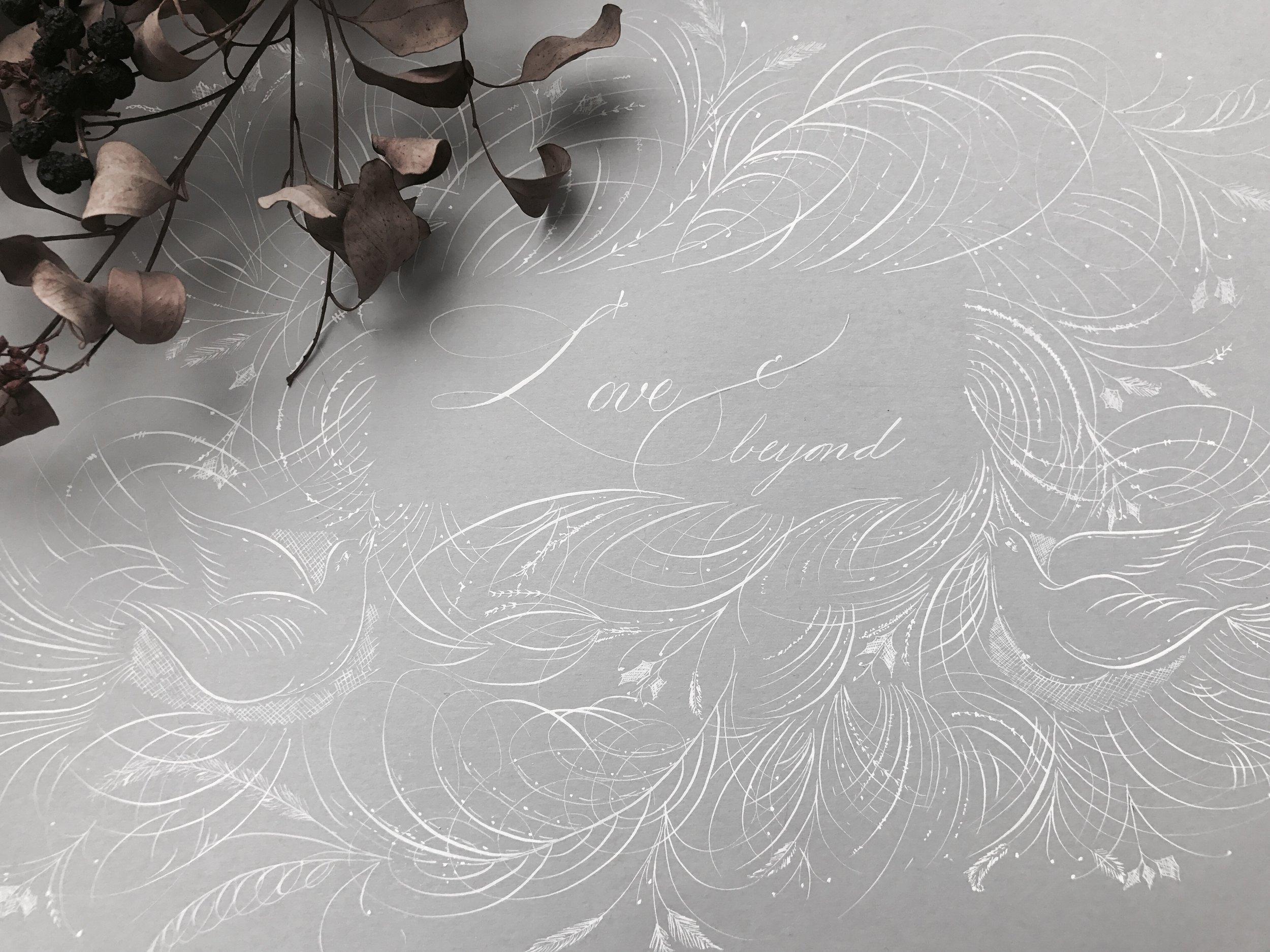 Off-hand flourishing - An art piece close to her heart.