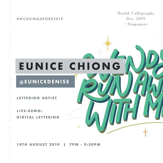 Our next reveal - Digital Lettering Live Demonstration artist: Eunice Chiong (@eunicedenise)  Eunice Chiong is a lettering artist from Singapore, who started her lettering journey when she was a teen. Her work is largely inspired by lines from her favourite shows and movies, song lyrics, or quotes from a good book.  Come say hello to Eunice as she demonstrates how lettering artists can leverage technology to create amazing pieces during the live-demo session!