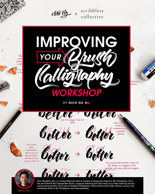 Registration for workshops with @nic_the_ is live! (All registration links in bio)  First up, Improving Brush Calligraphy with Nico Ng  Date: 5th October 2019, Saturday  Time: 10am - 1pm *Limited seats available
