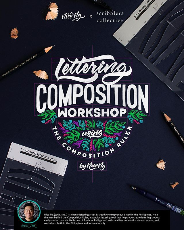 Lettering Composition workshop with @nic_the_ is also open for registrations!  Date: 5th October 2019, Saturday  Time: 2pm - 6pm *Limited seats available  Registration available through our website: learn.scribblerscollective.com