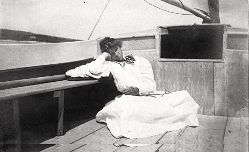 Granny Sally Squibb relaxing on the sailboat