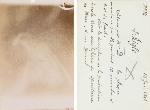 Thought photograph by Commander Louis Darget, with his notes penned on the verso, 1896. Courtesy of the artist's archive.