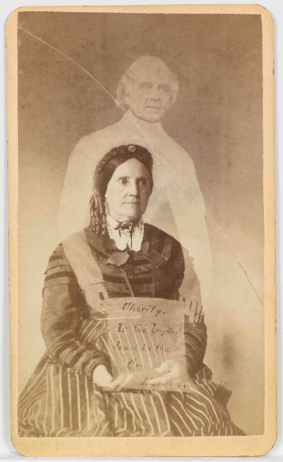 """In this spirit photograph, produced by William Mumler's studio in Boston, the sitter is presented with a note: """"Charity, To the brightest jewel in the crown, Nathaniel."""" Courtesy of the artist's archive."""