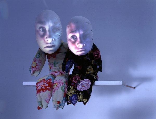 """Tony Oursler's """"Talking Light"""" exhibition at the Lisson gallery, 1996."""