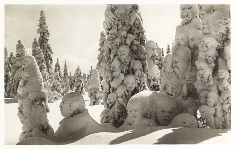 """Postcard of manipulated photograph titled """"Snow ghosts in the forest,"""" Switzerland, 1931 (all images courtesy Tony Oursler's personal archive)"""