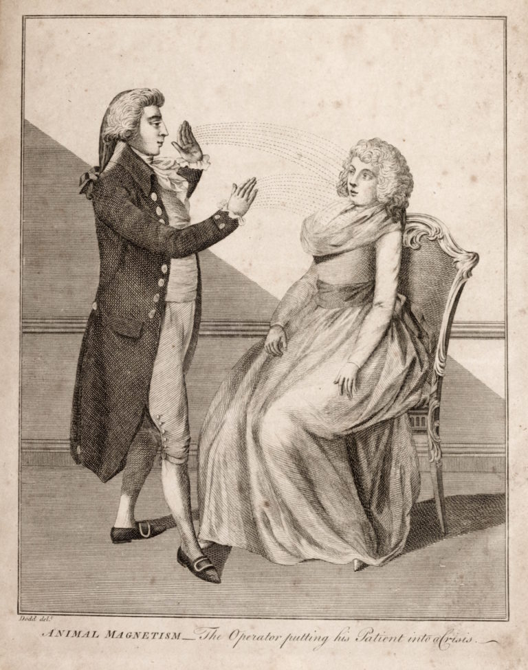 """An illustration of Animal Magnetism, """"The Operator putting his Patient into a Crisis,"""" from """"A Key to Physic, and the Occult Sciences"""" by E. Sibly, 1810"""