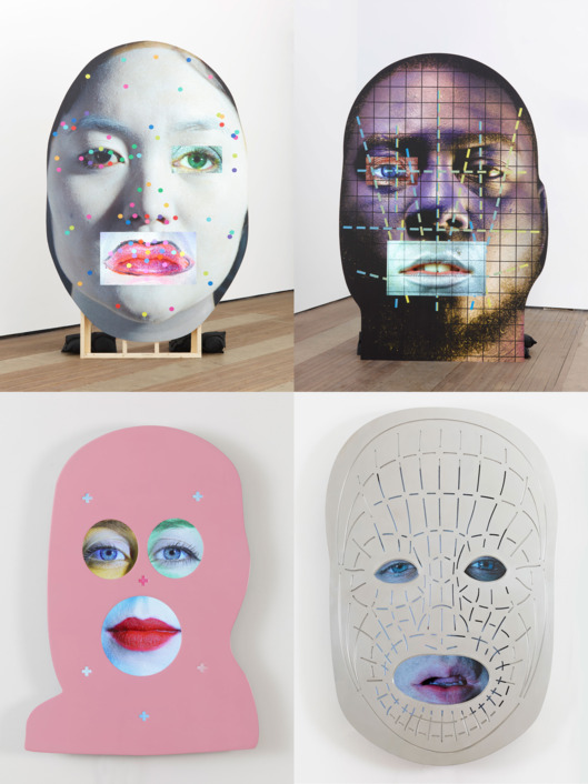 Works from Oursler's exhibition at Lehmann Maupin.   Photo: TONY OURSLER EUC, TONY OURSLER CV(15), TONY OURSLER INK, TONY OURSLER OWE; 2015 wood, LCD screens, inkjet print, sound performed by Holly Stanton, Jim Fletcher, and Brandon Olson 113 x 71.5 x 30.5 inches (with base) 287 x 181.6 x 774.7 cm Courtesy the artist and Lehmann Maupin, New York and Hong Kong