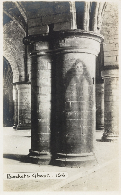 Tony Oursler's personal archive  The ghost of Thomas Becket, who was Archbishop of Canterbury from 1162 until his murder in 1170, Canterbury Cathedral, Kent, circa 1920