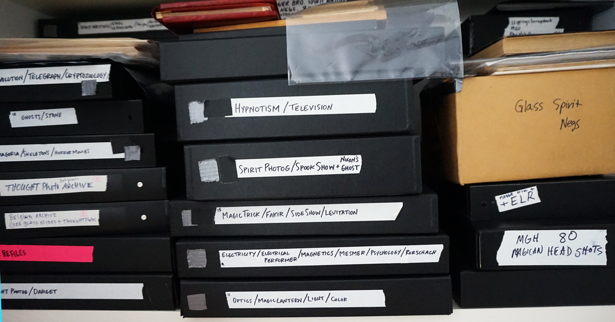 Some of the archived material Oursler keeps in his apartment.