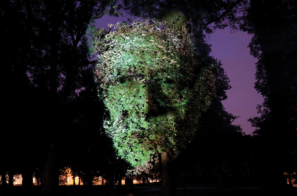 Tony Oursler's  Influence Machine , 2000, was projected on the grounds of London's Tate Modern last year.