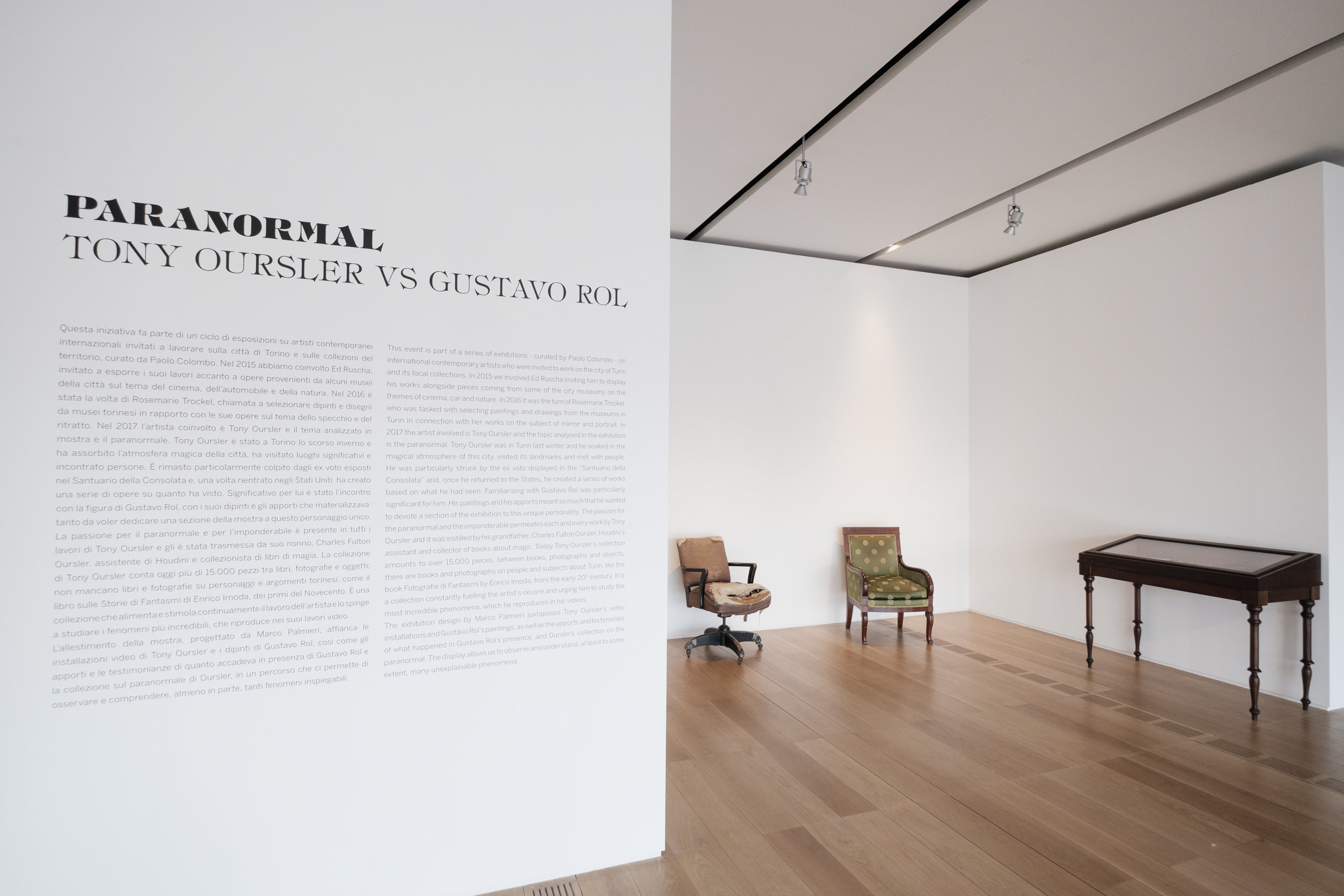 Installation view with Fulton Ourlser and Gustavo Rol's chairs