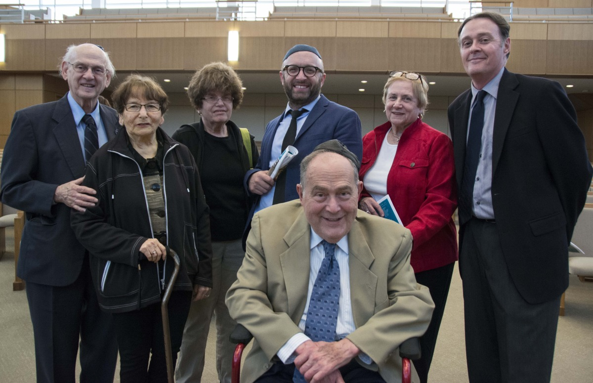 Rabbi Dembitzer with survivors, Dr. Fred Kader and Dr. Tom Jaeger and family
