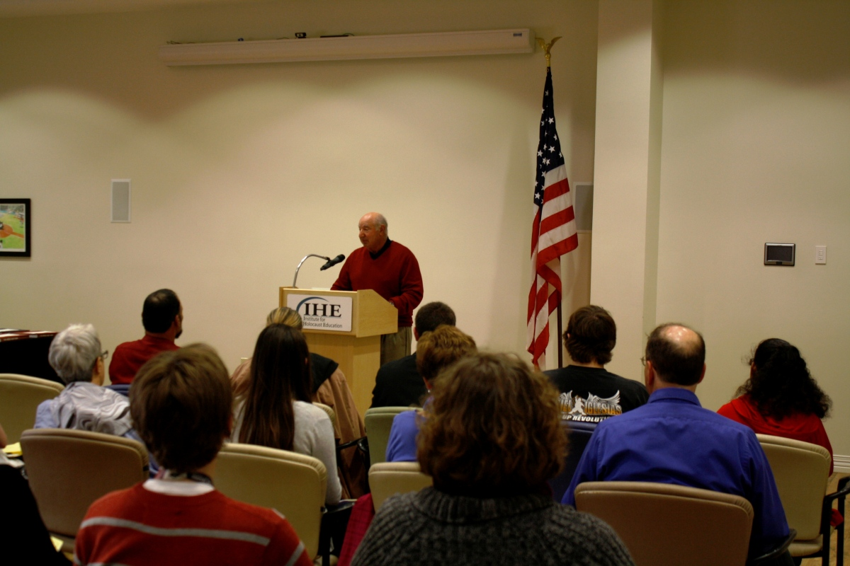 Milt Kleinberg at the Essay Contest Awards Ceremony