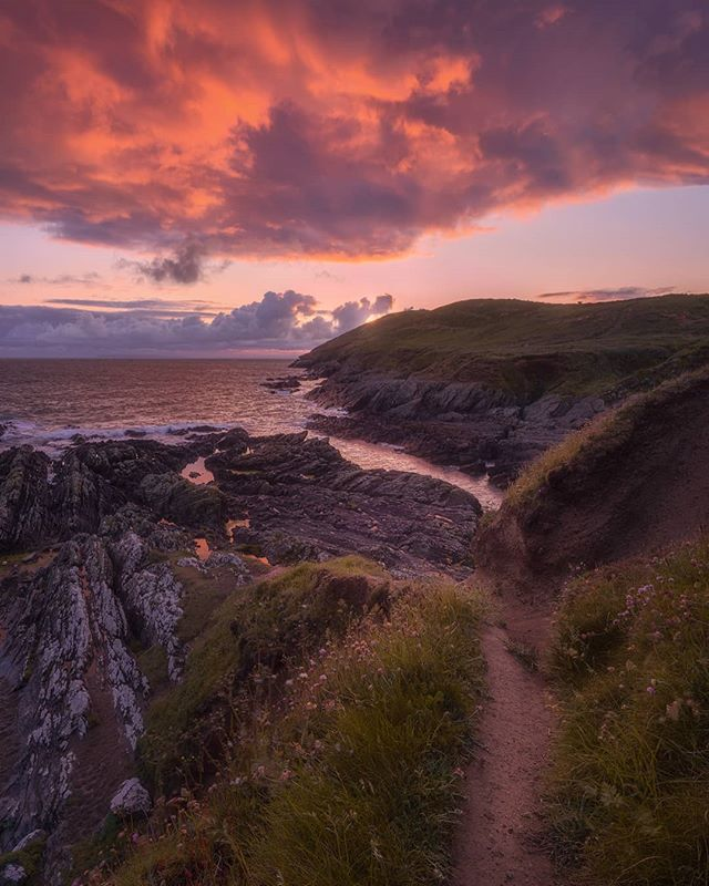 An old school comp with a modern processing twist.  Pretty chuffed to catch some nice light at #croyde a couple of nights ago.  Didn't manage to get to #baggypoint but felt this little path was a suitable subject and liked the reflections in the pools of water.  Can you spot the 🐄 on the hill?  This is an insta crop.  Nice to be back after an Instagram break.