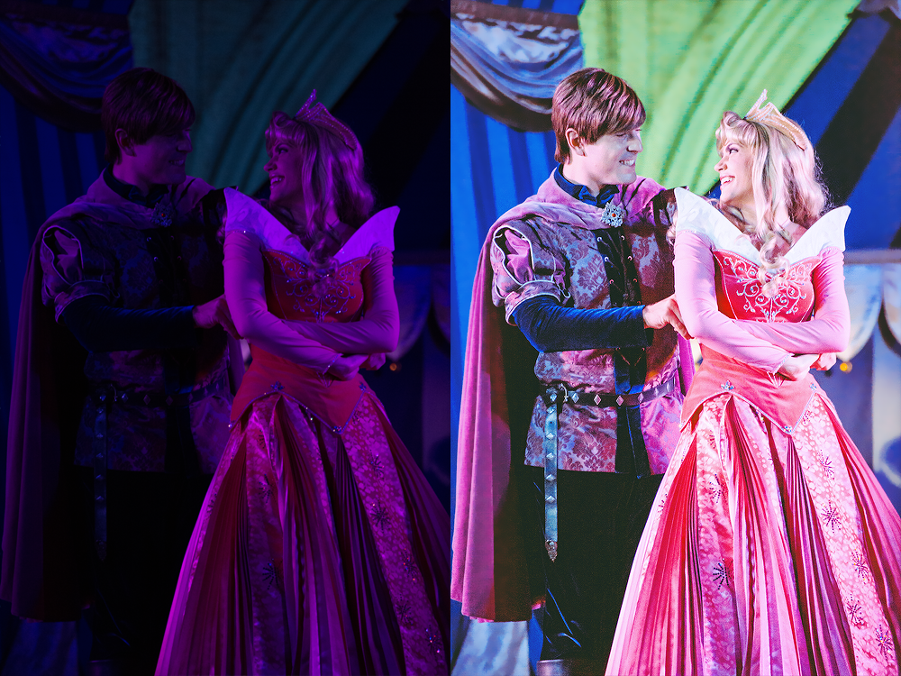 Prince Phillip & Aurora,  Dream Along With Mickey  I'll never forget the first time that I shot DAWM in the evening. I'll also never forget how unprepared I was for their terrible lighting. Here I relied on Lightroom to fix the white balance, curves to adjust the lighting, and also split toning to even out the colors.