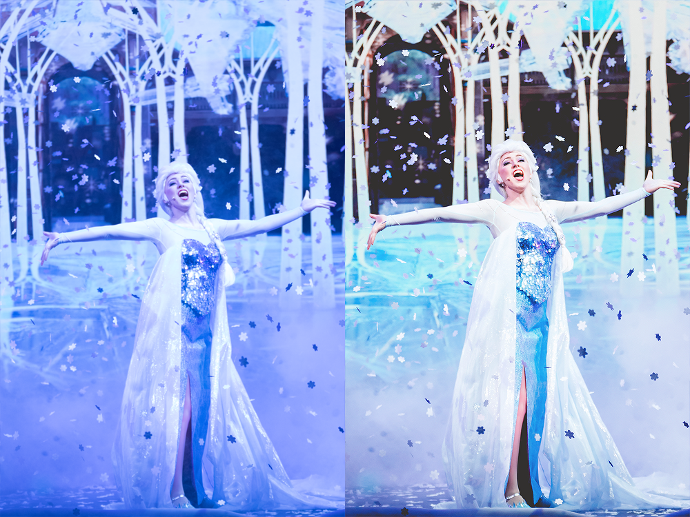 Elsa,  For the First Time in Forever: A Frozen Sing-Along Celebration  Ah yes, a day of firsts. This was the first day of Frozen sing-along in the new theatre (they switched from the Premiere to the Hyperion @ DHS) and it also happened to be my first time photographing with my new Canon. This was before I figured out where my white balance was (*HINT never try to figure out your settings in a dark theatre!!!) Here I adjusted the white balance and split toning.