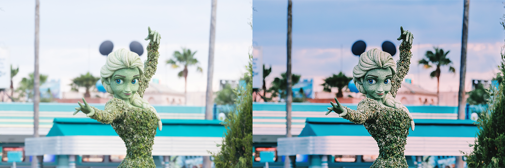 Elsa & the Earffel Tower, Disney's Hollywood Studios  I thought it would be fun to match up the Elsa topiary with the Earffel Tower (RIP), but what wasn't exciting was the blown out sky. Nothing in my camera matched what I was seeing with my own eyes. I had to choose whether to under expose and capture the sunset or over expose to focus on Elsa. Luckily, Lightroom's masking tool and curves brought this photo back to life.